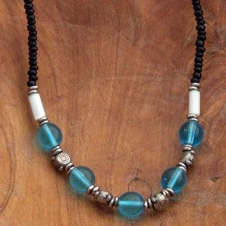 Handmade Blue Glass Beaded Necklace (Kenya)