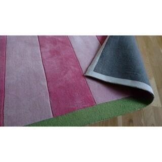 Stripes Rugby Pink Kids Rug (5' x 8')