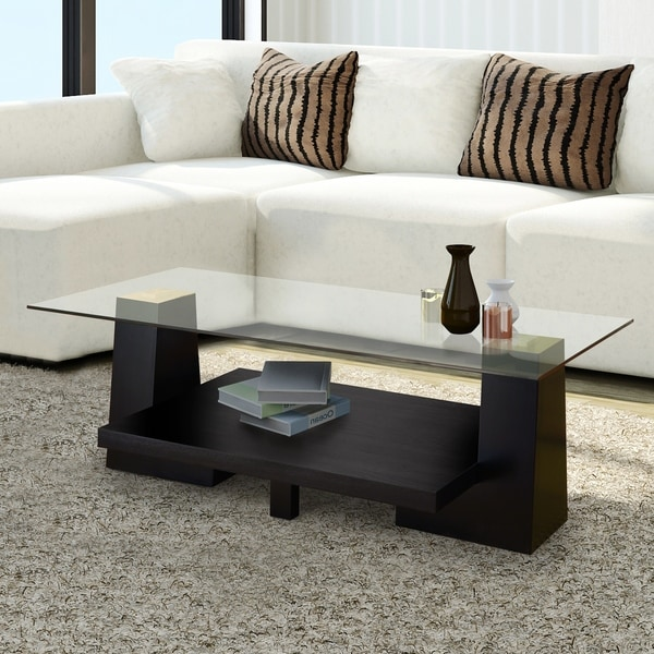 Shop Contours Modern Black Leveled Wood Coffee Table By Foa On