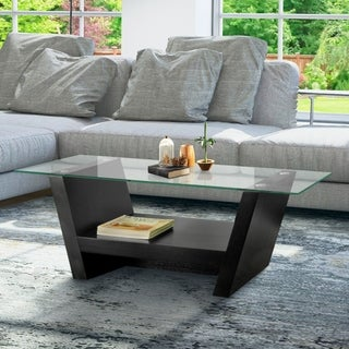 Furniture of America Leef Contemporary Black Arched Coffee Table