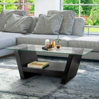 Furniture of America Black Wood and Glass Arched Leveled Coffee Table