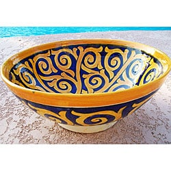 Sunswirl 10-inch Ceramic Bowl  , Handmade in Morocco