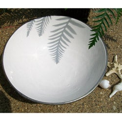 Handmade White 14-inch Silver Trimmed Ceramic Bowl (Morocco)