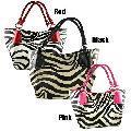 Zebra-print 100-percent Imitation-leather Zip-top Satchel Handbag