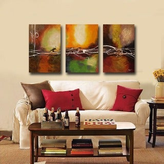 Hand-painted Oil 'Abstract' Canvas Art (Set of 3) - Multi