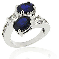 Icz Stonez Sterling Silver Lab Created Sapphire Ring (5.8ct TGW)