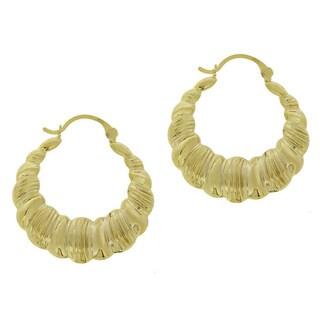 Mondevio 18k Gold over Sterling Silver Shrimp Design Hoop Earrings
