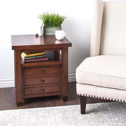 Copper Grove Walnut Cherry Navigator Side Table