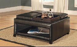 Bicast Leather Storage Ottoman with Trays - Thumbnail 1