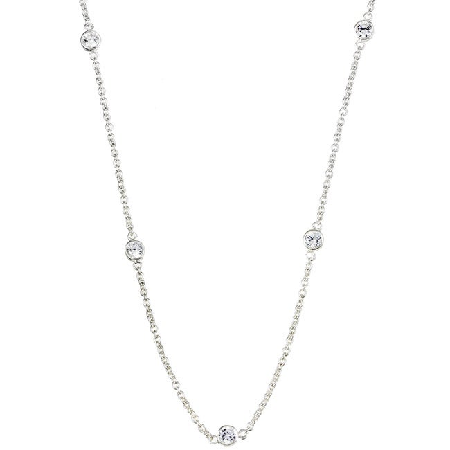 Sterling Essentials Sterling Silver 18-inch Cubic Zirconia Station Necklace