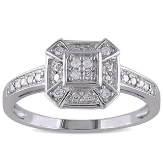 Miadora 10k White Gold 1/10ct TDW Diamond Ring