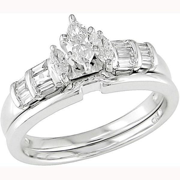 Miadora 14k White Gold 1/2ct TDW Diamond Bridal Set