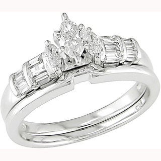 Miadora 14k White Gold 1/2ct TDW Diamond Bridal Set