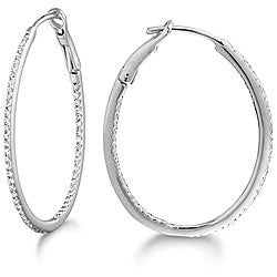 14k White Gold 2/5ct TDW Diamond Hoop Earrings