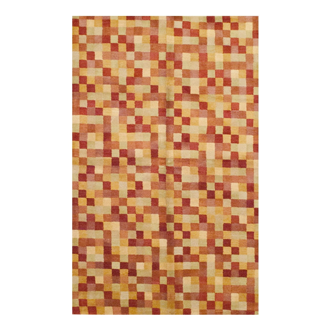 Herat Oriental Indo Hand-knotted Tibetan Checkered Multicolor Wool Rug (5' x 8')