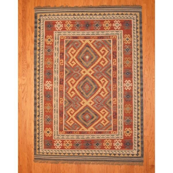 Indo Kilim Burgundy/ Ivory Rug (5'7 x 7'9)
