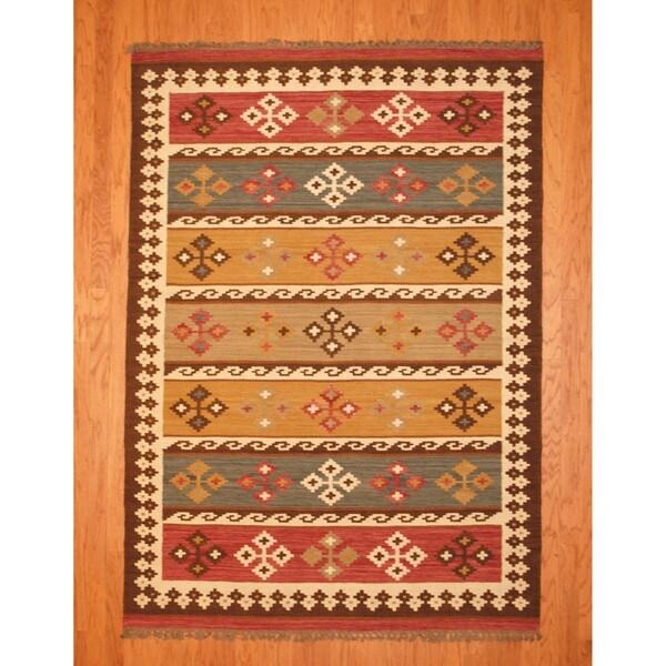 Indo Kilim Multicolor Rug (5'7 x 7'5)