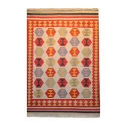 Thumbnail 1, Indo Kilim Ivory/ Red Wool/ Cotton Rug (5'5 x 7'9).