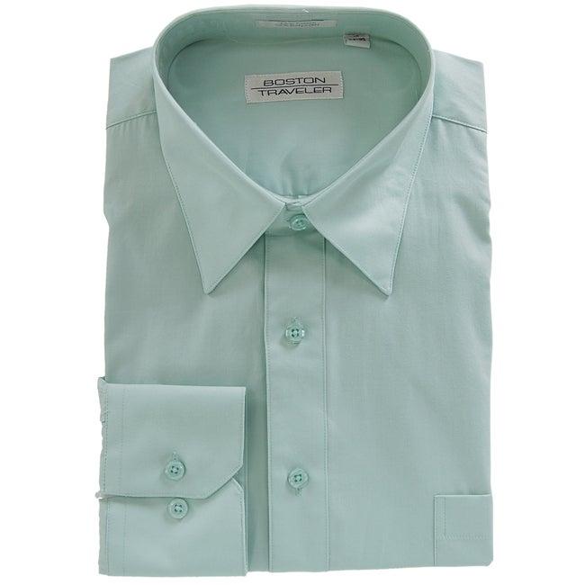 Boston Traveler Men's Point Collar Aqua Dress Shirt