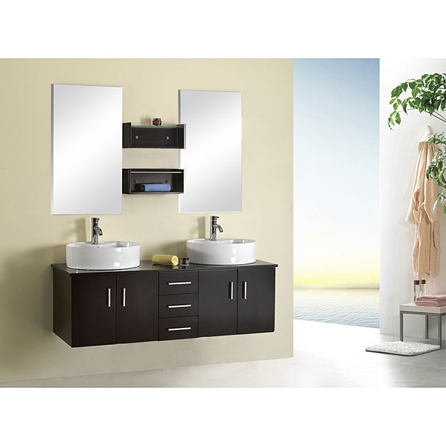Shop Virtu USA Enya 60-inch Double Sink Bathroom Vanity Set - Free ...