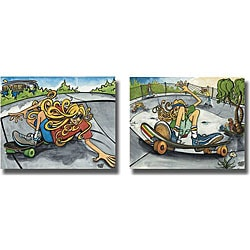 Bogushefsky 'Wall Slide and Lip Grind' Canvas Art (Set of 2)