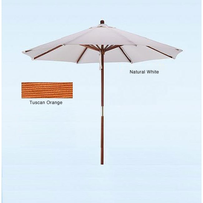 hard wood white tuscan orange patio umbrella free
