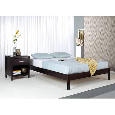 Tapered-Leg California King-Size Mahogany Platform Bed