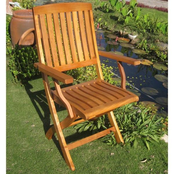 International Caravan Royal Tahiti Yellow Balau Wood Folding Arm Chair (Set of 2)