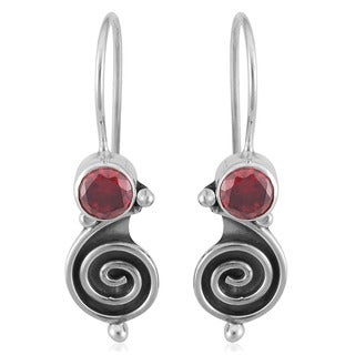 Handmade Sterling Silver Garnet Swirl Earrings (Indonesia)