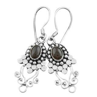 Link to Handmade Sterling Silver Garnet Vine Earrings (Bali) Similar Items in Earrings