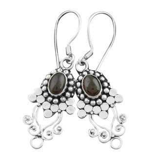Handmade Sterling Silver Garnet Vine Earrings (Indonesia)