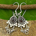 Handmade Sterling Silver Garnet 'Vine' Earrings (Indonesia)