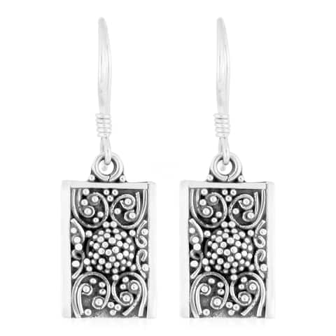 Handmade Sterling Silver Cawi Motif Earrings (Indonesia)
