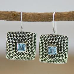 Handmade Sterling Silver and Blue Topaz 'Beaded Edge' Earrings (Indonesia) - Thumbnail 1
