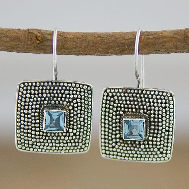Handmade Sterling Silver and Blue Topaz 'Beaded Edge' Earrings (Indonesia)