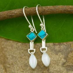 Sterling Silver Turquoise and Moonstone Earrings (Indonesia)