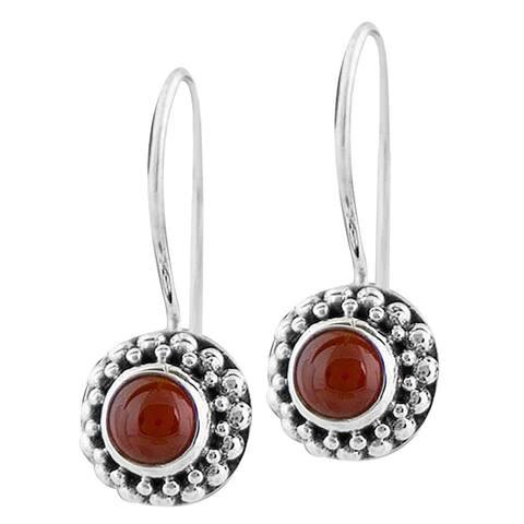 Handmade Sterling Silver Agate Beaded Earrings (Indonesia)