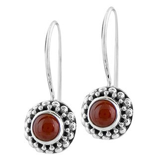 Handmade Sterling Silver Carnelian Agate Beaded Earrings (Indonesia)