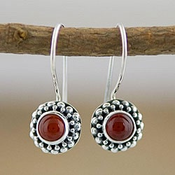 Sterling Silver Carnelian Agate Beaded Earrings (Indonesia)