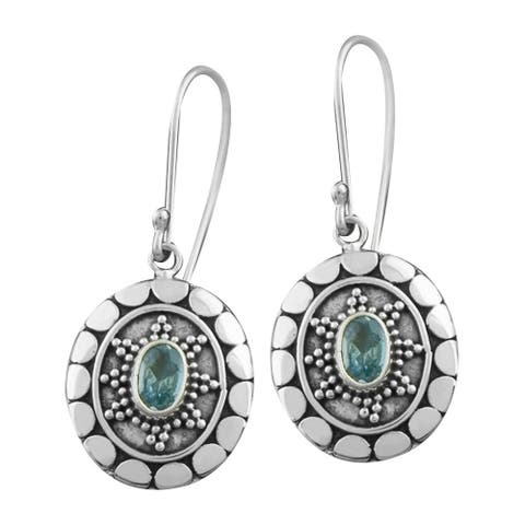 Handmade Sterling Silver Blue Topaz Motif Earrings (Indonesia)