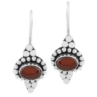 Handmade Sterling Silver Carnelian Agate Earrings (Indonesia)