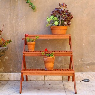 Brown Eucalyptus Wood 3-tiered Plant Stand