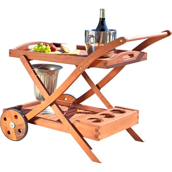 Wood Serving Cart ~ Hana eucalyptus wood serving cart free shipping today