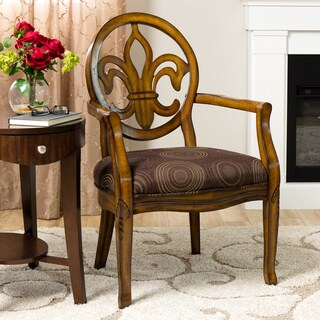 Fleur de Lis Chocolate Velvet and Wood Chair