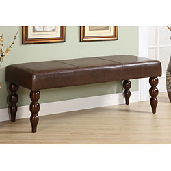 Bi-cast Leather Bench with Turned Legs