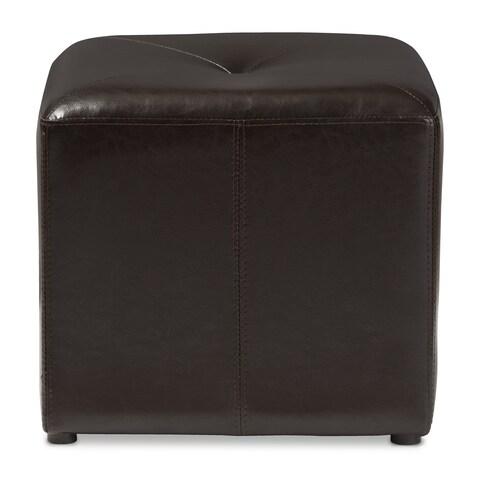 Dark Brown Bonded Leather Cube Ottoman