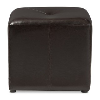 Dark Brown Bonded Leather Cube Ottoman