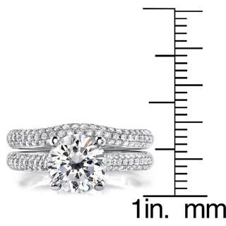 18k Gold 2 1/2ct TDW Round Diamond Micro Pave Bridal Ring Set