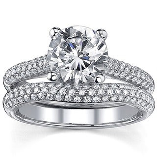 18k Gold 2 1/2ct TDW Round Diamond Micro Pave Bridal Ring Set