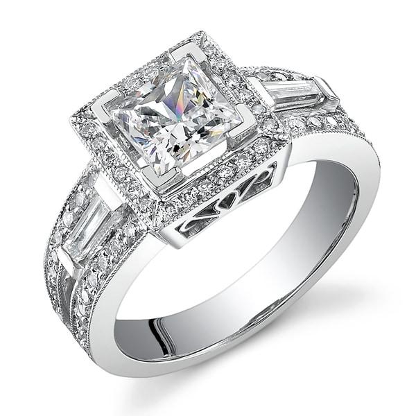 18k Gold 1 5/8ct TDW Diamond Engagement Halo Ring (I,  I1)